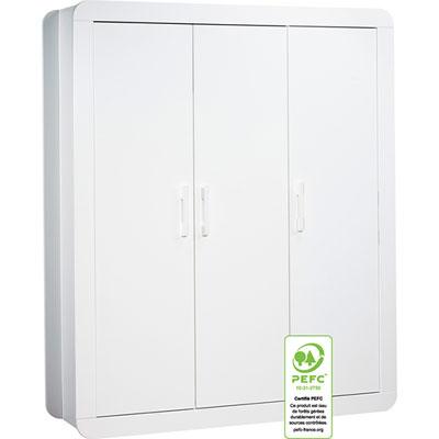 Armoire 3 portes astride blanc Sauthon meubles