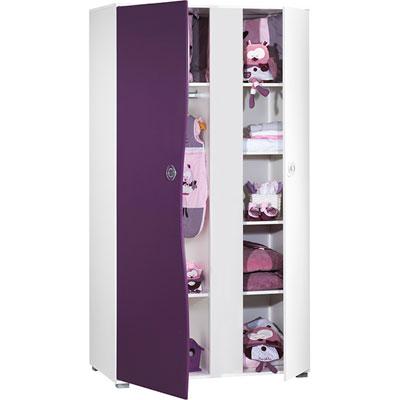 Armoire 2 portes pop violette Sauthon meubles