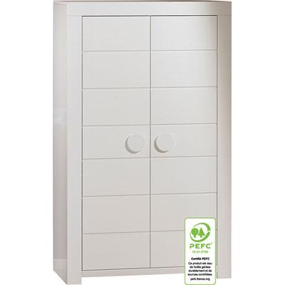 Armoire 2 portes zen blanc poignées rondes Sauthon meubles