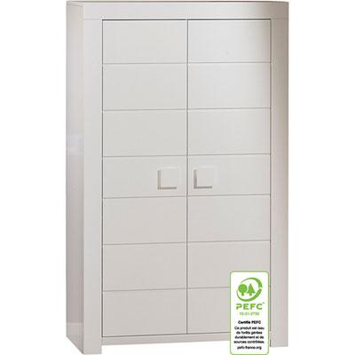 Armoire 2 portes zen blanc poignées carrés Sauthon meubles
