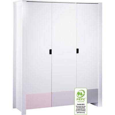 Armoire 3 portes city rose Sauthon meubles
