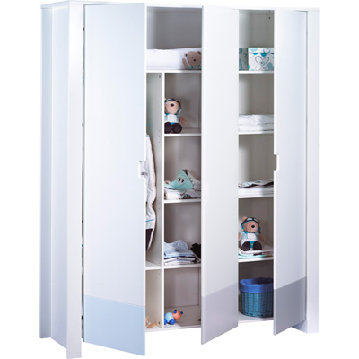 Armoire 3 portes city bleu Sauthon meubles