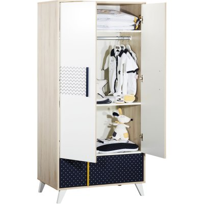 Armoire chambre bébé 2 portes 1 tiroir hello Sauthon meubles