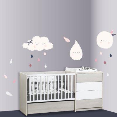 Stickers chambre bébé xxl lune miss chipie Sauthon baby deco