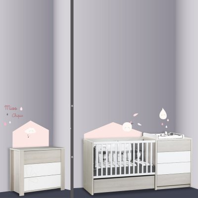 Stickers chambre bébé home miss fleur de lune Sauthon baby deco