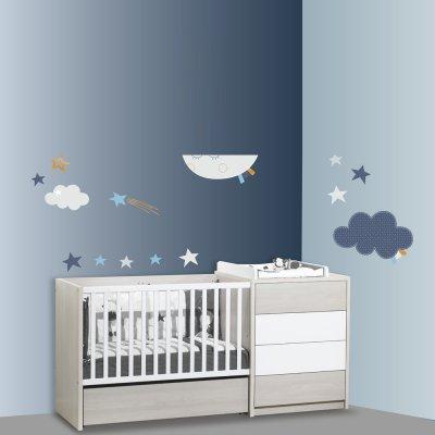 Stickers chambre bébé xxl lune merlin Sauthon baby deco