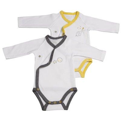 Lot de 2 bodies babyfan blanc/gris et blanc/jaune Sauthon baby deco