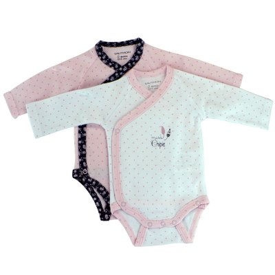 Lot de 2 bodies miss chipie blanc/rose Sauthon baby deco
