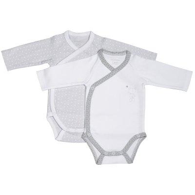 Lot de 2 bodies céleste blanc/gris Sauthon baby deco