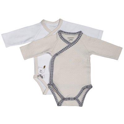 Lot de 2 bodies timouki blanc/beige Sauthon baby deco