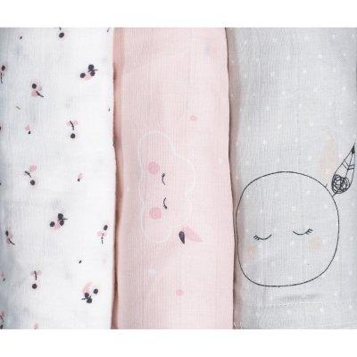 Lot de 3 langes bio 70x70cm miss fleur de lune Sauthon baby deco