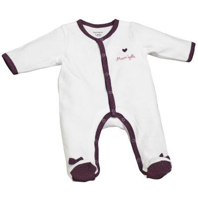 Pyjama velours mam'zelle bou blanc/violet Sauthon baby deco