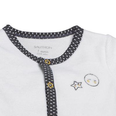 Pyjama velours babyfan blanc/gris Sauthon baby deco