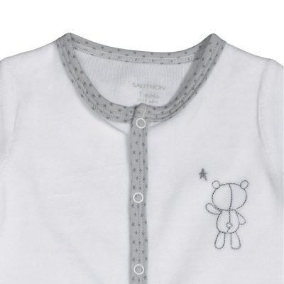 Pyjama velours céleste blanc broderie ours Sauthon baby deco