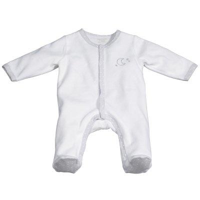 Pyjama velours céleste blanc broderie lune Sauthon baby deco