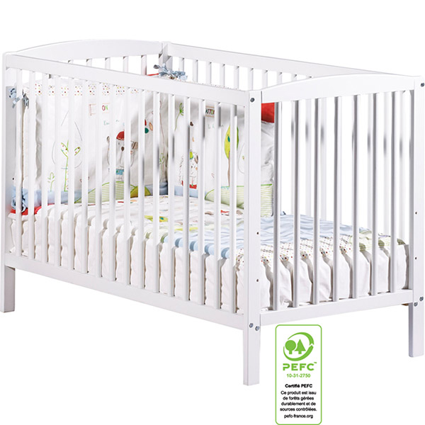 Lit bébé 60 x 120 cm blanc Sauthon meubles