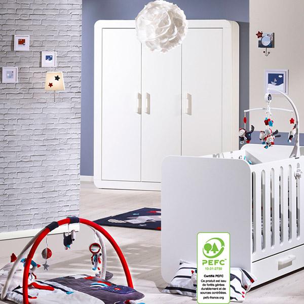 Chambre bébé duo astride blanc 2 éléments lit et armoire 3 portes Sauthon meubles