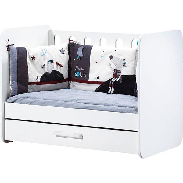 Chambre bébé duo astride blanc 2 éléments lit et armoire 2 portes Sauthon meubles