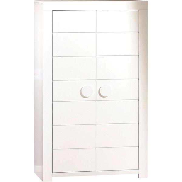 Chambre duo zen bouton rond 2 éléments lit + armoire Sauthon meubles