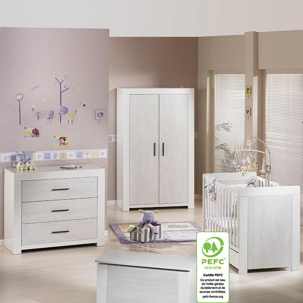 chambre b b trio zen rivage 3 l ments de sauthon meubles. Black Bedroom Furniture Sets. Home Design Ideas