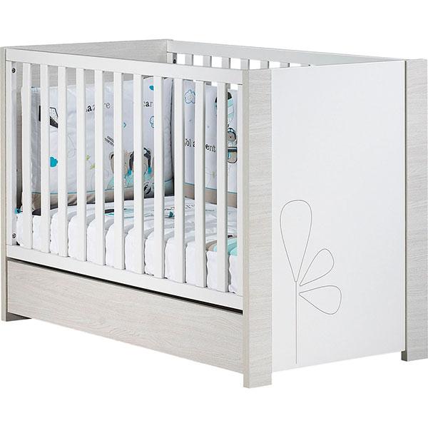 Chambre bébé duo opale blanc avec motif 2 éléments lit + commode Sauthon meubles