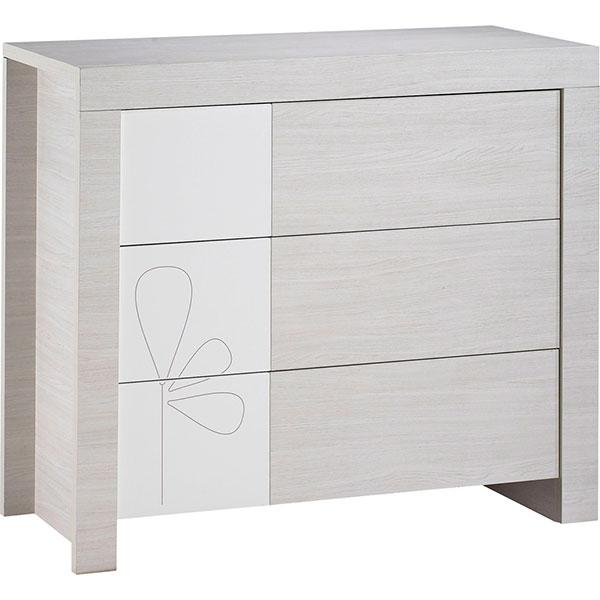 Chambre bébé trio opale blanc avec motif 3 éléments Sauthon meubles