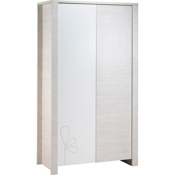 Chambre bébé duo opale blanc 2 éléments avec motif lit + armoire Sauthon meubles