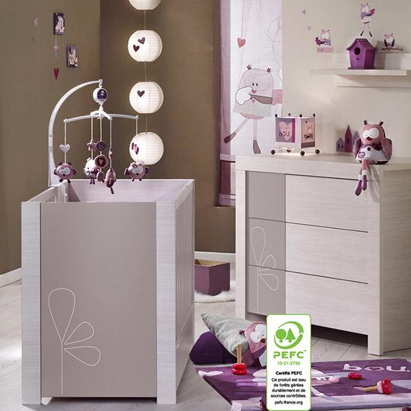 Chambre bébé duo opale taupe avec motif 2 éléments lit + commode Sauthon meubles