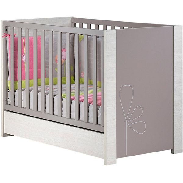 Chambre bébé duo opale taupe avec motif 2 éléments lit + armoire Sauthon meubles