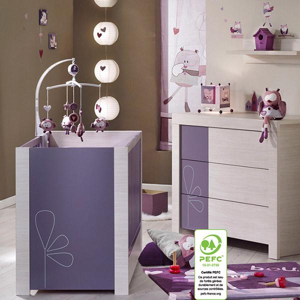 Chambre bébé duo opale figue avec motif 2 éléments lit + commode Sauthon meubles
