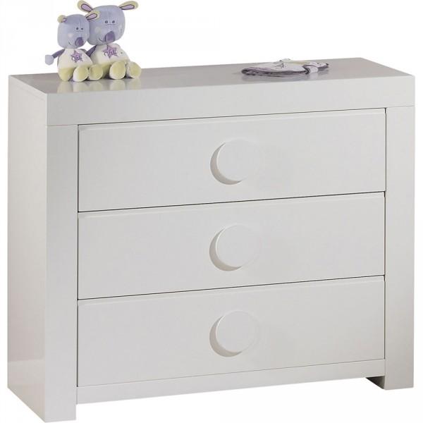 Commode 3 tiroirs zen blanc poign es rondes 30 sur allob b - Poignee tiroir commode ...