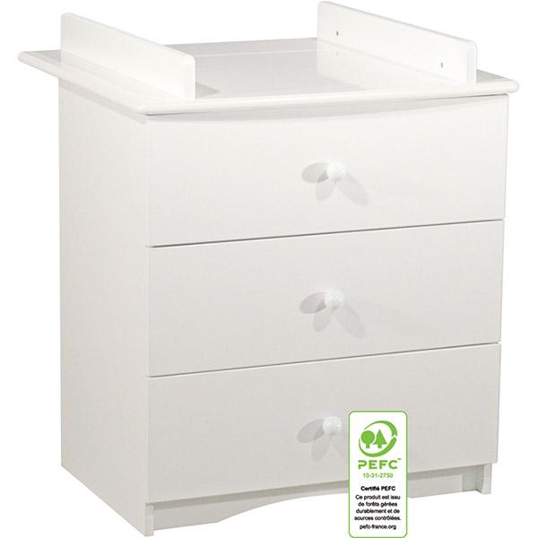 Commode bébé 3 tiroirs avec dispositif a langer amovible Sauthon meubles