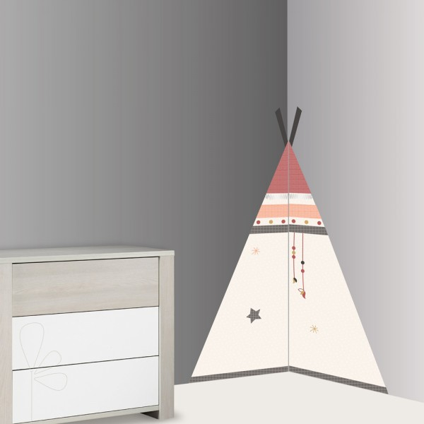 sticker chambre b b xxl tipi timouki de sauthon baby deco chez naturab b. Black Bedroom Furniture Sets. Home Design Ideas