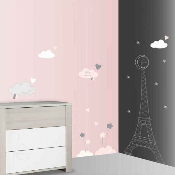 Stickers chambre b b xxl nuage lilibelle de sauthon baby deco - Stickers chambre bebe nuage ...