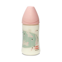 Biberon tétine physiologique silicone happy bunny rose 270 ml