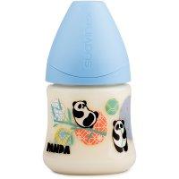 Biberon tétine physioloque silicone panda bleu 150 ml