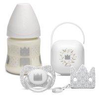 Coffret biberon avec sucette et accessoires couronne white design