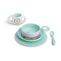 Coffret repas bébé hello fox turquoise