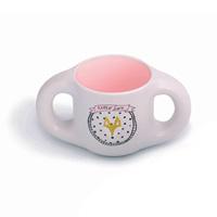 Tasse ergonomique avec anses hello fox pink