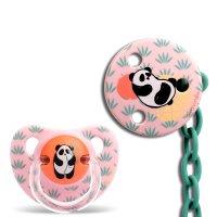 Pack sucette physiologique + attache sucette panda rose 6-18 mois