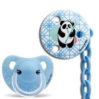 Pack sucette physiologique + attache sucette panda bleu 6-18 mois