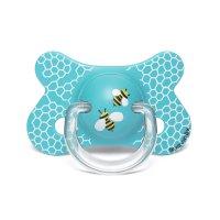 Sucette anatomique reversible silicone 4-18 mois abeille bleu