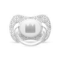 Sucette silicone reversible 4-18 mois couronne gris/blanc white