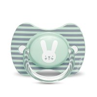 Sucette reversible silicone hygge baby lapin rayé 6-18 mois vert