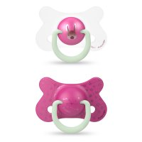 Lot de 2 sucettes reversible night and day 18 mois+ lapin rose