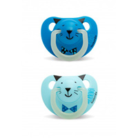 Lot de 2 sucettes silicone night and day bleu 6 mois +