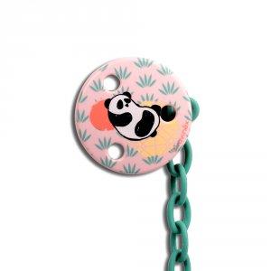 Attache sucette ronde panda rose