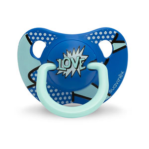 Sucette physiologique silicone 18 mois + arty baby bleu marine