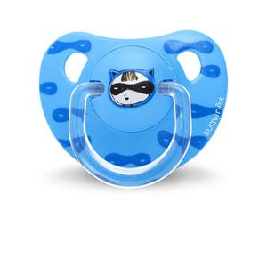 Sucette physiologique silicone 6-18 mois super héros bleu