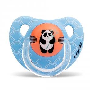 Sucette physiologique silicone panda bleu 6-18 mois